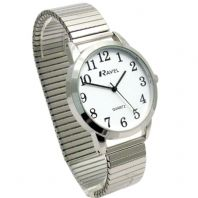 Ravel Men's Super-Clear Quartz Watch with Expanding Bracelet sil #35 R0232.01.1